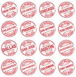 Stamp towns USA stock photos