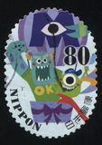 Stamp two monsters from Monsters Royalty Free Stock Photography