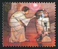 Stamp. UNITED STATES - CIRCA 2007: stamp printed by United states, shows Star Wars, Princess Leia and R2-D2, circa 2007 royalty free stock image
