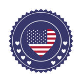 stamp with united states flag in shape of heart in round frame with hearts Royalty Free Stock Photos