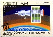 A stamp of Vietnam dedicated to the first Soyuz spacecraft, Soyuz 1 stock images