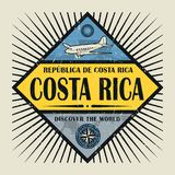 Stamp or vintage emblem text Costa Rica, Discover the World. Stamp or vintage emblem with airplane, compass and text Costa Rica, Discover the World, vector stock illustration