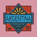 Stamp or vintage emblem with text Argentina, Discover the World. Vector illustration Royalty Free Stock Photo