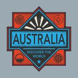 Stamp or vintage emblem with text Australia, Discover the World. Vector illustration Stock Photos