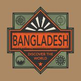 Stamp or vintage emblem with text Bangladesh, Discover the World. Vector illustration Royalty Free Stock Photography