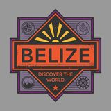 Stamp or vintage emblem with text Belize, Discover the World. Vector illustration Stock Photography