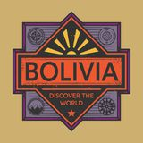 Stamp or vintage emblem with text Bolivia, Discover the World. Vector illustration Royalty Free Stock Images