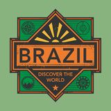 Stamp or vintage emblem with text Brazil, Discover the World. Vector illustration Royalty Free Stock Photos