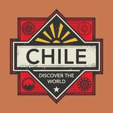 Stamp or vintage emblem with text Chile, Discover the World. Vector illustration Stock Image