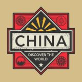 Stamp or vintage emblem with text China, Discover the World. Vector illustration Stock Images