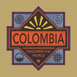 Stamp or vintage emblem with text Colombia, Discover the World. Vector illustration Royalty Free Stock Image