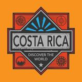Stamp or vintage emblem with text Costa Rica, Discover the World. Vector illustration Stock Photos
