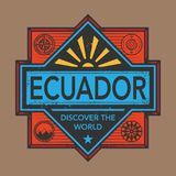 Stamp or vintage emblem with text Ecuador, Discover the World. Vector illustration Royalty Free Stock Images
