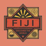 Stamp or vintage emblem with text Fiji, Discover the World. Vector illustration Royalty Free Stock Photo