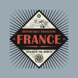 Stamp or vintage emblem with text France, Discover the World. Vector illustration Royalty Free Stock Image