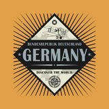 Stamp or vintage emblem with text Germany, Discover the World. Vector illustration Royalty Free Stock Photos