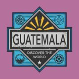 Stamp or vintage emblem with text Guatemala, Discover the World. Vector illustration Stock Photography