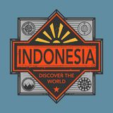 Stamp or vintage emblem with text Indonesia, Discover the World. Vector illustration Stock Photos