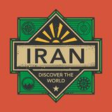 Stamp or vintage emblem with text Iran, Discover the World. Vector illustration Stock Photography