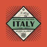 Stamp or vintage emblem with text Italy, Discover the World. Vector illustration Royalty Free Stock Images