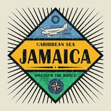 Stamp or vintage emblem text Jamaica, Discover the World. Stamp or vintage emblem with airplane, compass and text Jamaica, Discover the World, vector royalty free illustration