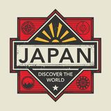 Stamp or vintage emblem with text Japan, Discover the World. Vector illustration Stock Image