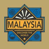 Stamp or vintage emblem with text Malaysia, Discover the World. Vector illustration Stock Photography