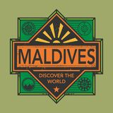 Stamp or vintage emblem with text Maldives, Discover the World. Vector illustration Stock Image
