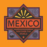 Stamp or vintage emblem with text Mexico, Discover the World. Vector illustration Royalty Free Stock Photography