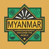 Stamp or vintage emblem with text Myanmar, Discover the World. Vector illustration Royalty Free Stock Photos