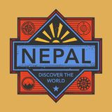 Stamp or vintage emblem with text Nepal, Discover the World. Vector illustration Stock Photography
