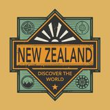 Stamp or vintage emblem with text New Zealand, Discover the Worl. D, vector illustration Stock Images