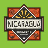 Stamp or vintage emblem with text Nicaragua, Discover the World. Vector illustration Royalty Free Stock Images