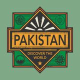 Stamp or vintage emblem with text Pakistan, Discover the World. Vector illustration Royalty Free Stock Image