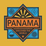 Stamp or vintage emblem with text Panama, Discover the World. Vector illustration Royalty Free Stock Images