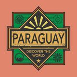 Stamp or vintage emblem with text Paraguay, Discover the World. Vector illustration Royalty Free Stock Photo