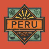 Stamp or vintage emblem with text Peru, Discover the World. Vector illustration Royalty Free Stock Images
