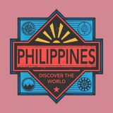 Stamp or vintage emblem with text Philippines, Discover the Worl. D, vector illustration Royalty Free Stock Photography