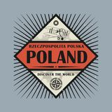 Stamp or vintage emblem with text Poland, Discover the World. Vector illustration Stock Photo