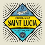 Stamp or vintage emblem text Saint Lucia, Discover the World. Stamp or vintage emblem with airplane, compass and text Saint Lucia, Discover the World, vector vector illustration