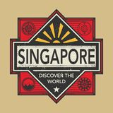 Stamp or vintage emblem with text Singapore, Discover the World. Vector illustration Stock Photo