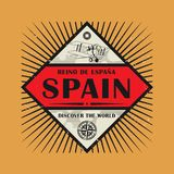 Stamp or vintage emblem with text Spain, Discover the World. Vector illustration Stock Photos