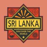Stamp or vintage emblem with text Sri Lanka, Discover the World. Vector illustration Stock Images