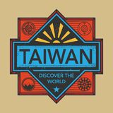 Stamp or vintage emblem with text Taiwan, Discover the World. Vector illustration Stock Photography