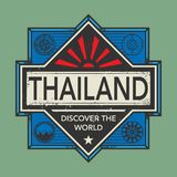 Stamp or vintage emblem with text Thailand, Discover the World. Vector illustration Royalty Free Stock Photography