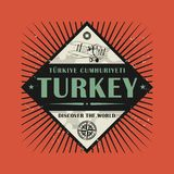 Stamp or vintage emblem with text Turkey, Discover the World. Vector illustration Royalty Free Stock Photo