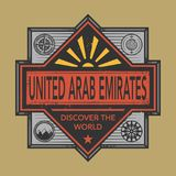 Stamp or vintage emblem with text United Arab Emirates, Discover. The World, vector illustration Royalty Free Stock Images