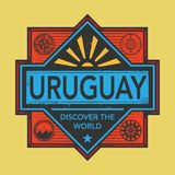 Stamp or vintage emblem with text Uruguay, Discover the World. Vector illustration Royalty Free Stock Photo