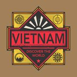 Stamp or vintage emblem with text Vietnam, Discover the World. Vector illustration Royalty Free Stock Photos