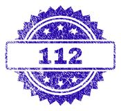 Scratched 112 Stamp Seal. 112 stamp watermark with corroded style. Blue vector rubber seal print of 112 caption with corroded texture vector illustration